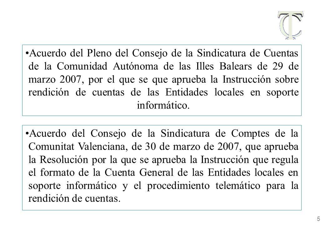 5 Acuerdo del Pleno del Consejo de la Sindicatura de Cuentas de la Comunidad Autónoma de las Illes Balears de 29 de marzo 2007, por el que se que aprueba la Instrucción sobre rendición de cuentas de las Entidades locales en soporte informático.