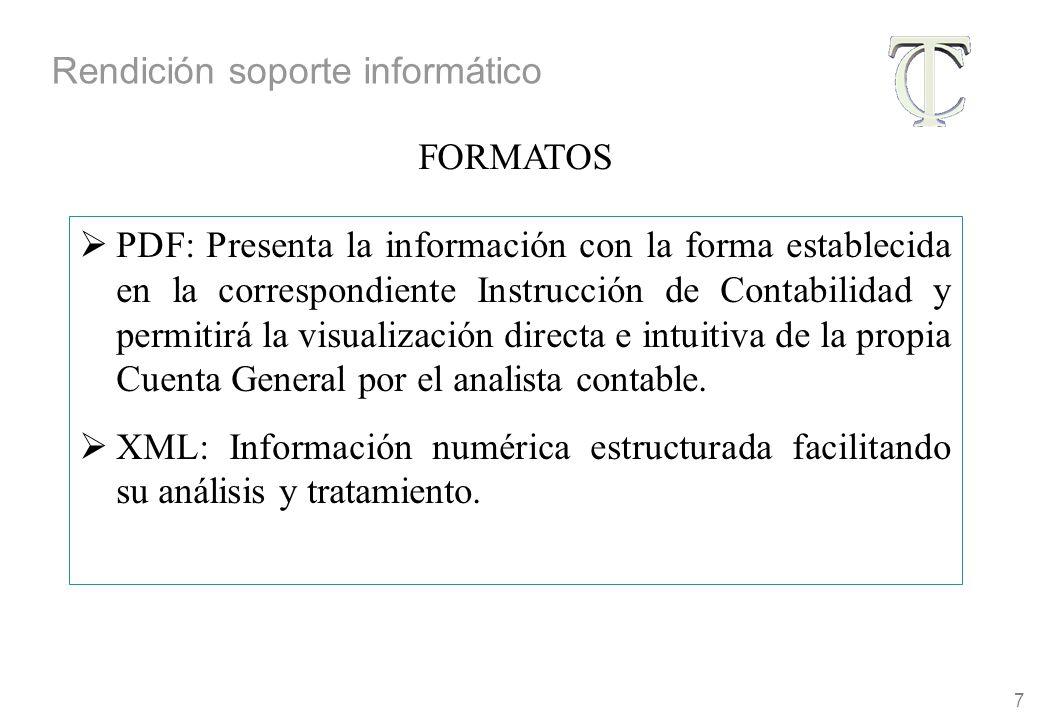 7 PDF: Presenta la información con la forma establecida en la correspondiente Instrucción de Contabilidad y permitirá la visualización directa e intuitiva de la propia Cuenta General por el analista contable.