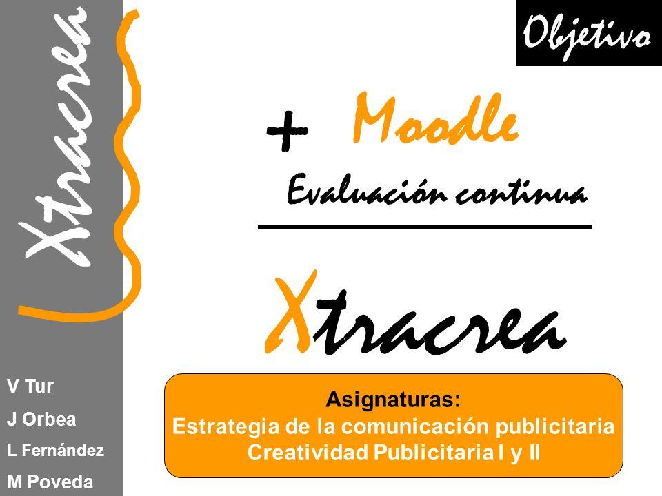 Xtracrea V Tur J Orbea L Fernández M Poveda Moodle Evaluación continua Xtracrea + Asignaturas: Estrategia de la comunicación publicitaria Creatividad Publicitaria I y II Objetivo