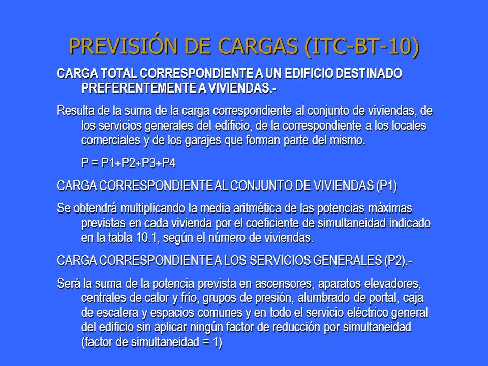 PREVISIÓN DE CARGAS (ITC-BT-10) CARGA TOTAL CORRESPONDIENTE A UN EDIFICIO DESTINADO PREFERENTEMENTE A VIVIENDAS.- CARGA CORRESPONDIENTE A LOS GARAJES (P3).- Se calculará considerando un mínimo de 10 W por metro cuadrado y planta para garajes de ventilación natural y 20 W para los de ventilación forzada, con un mínimo de 3.450 W a 230 V y coeficiente de simultaneidad 1.