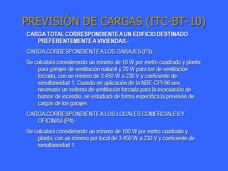 PREVISIÓN DE CARGAS (ITC-BT-10) CARGA TOTAL CORRESPONDIENTE A UN EDIFICIO DESTINADO PREFERENTEMENTE A VIVIENDAS.- CARGA CORRESPONDIENTE A LOS GARAJES