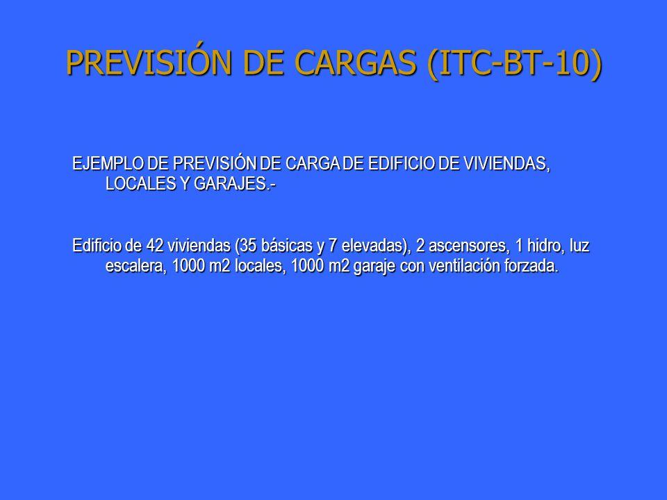PREVISIÓN DE CARGAS (ITC-BT-10) EJEMPLO DE PREVISIÓN DE CARGA DE EDIFICIO DE VIVIENDAS, LOCALES Y GARAJES.- Edificio de 42 viviendas (35 básicas y 7 e