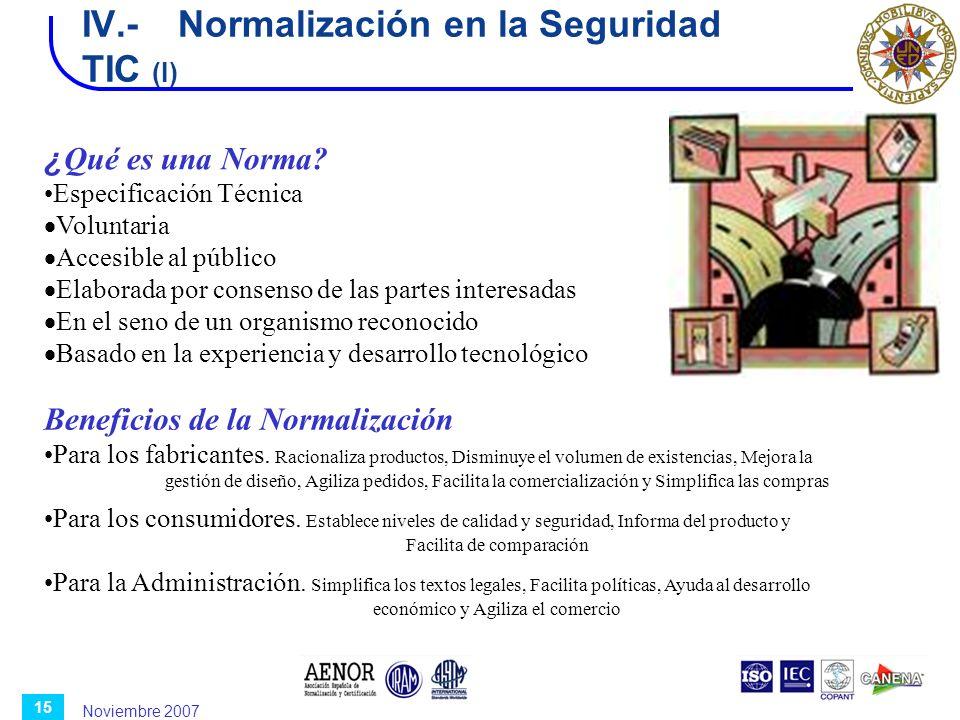 Noviembre 2007 15 IV.-Normalización en la Seguridad TIC (I) ¿ Qué es una Norma? Especificación Técnica Voluntaria Accesible al público Elaborada por c