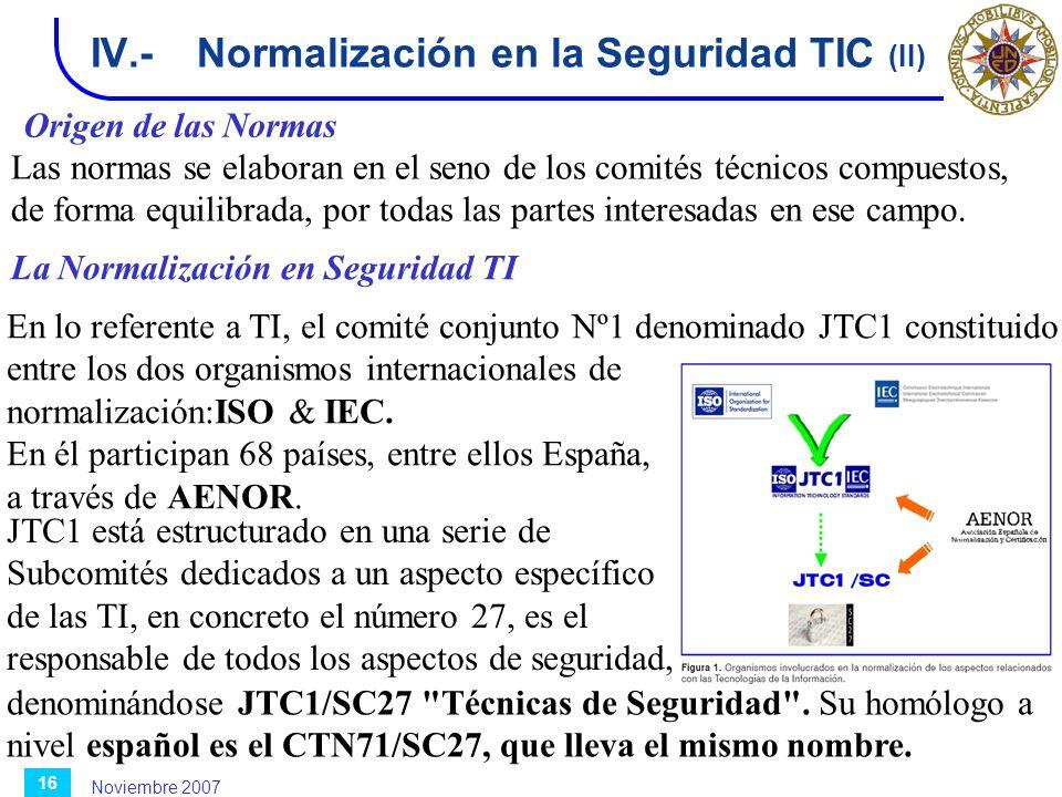 Noviembre 2007 16 IV.-Normalización en la Seguridad TIC (II) La Normalización en Seguridad TI Origen de las Normas Las normas se elaboran en el seno d