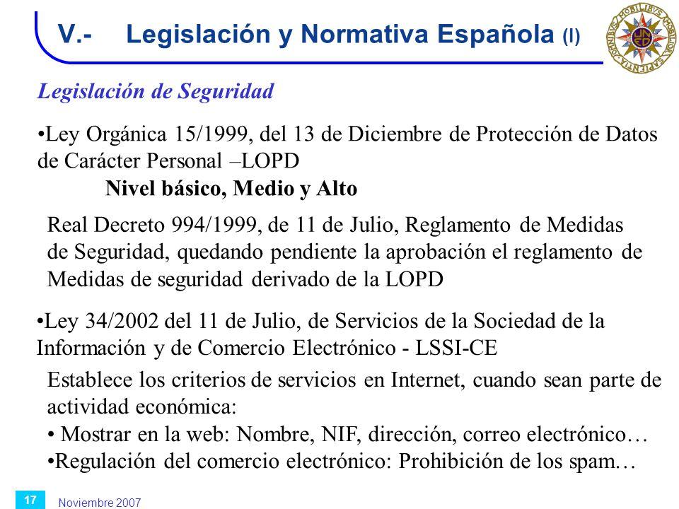 Noviembre 2007 17 V.-Legislación y Normativa Española (I) Ley Orgánica 15/1999, del 13 de Diciembre de Protección de Datos de Carácter Personal –LOPD
