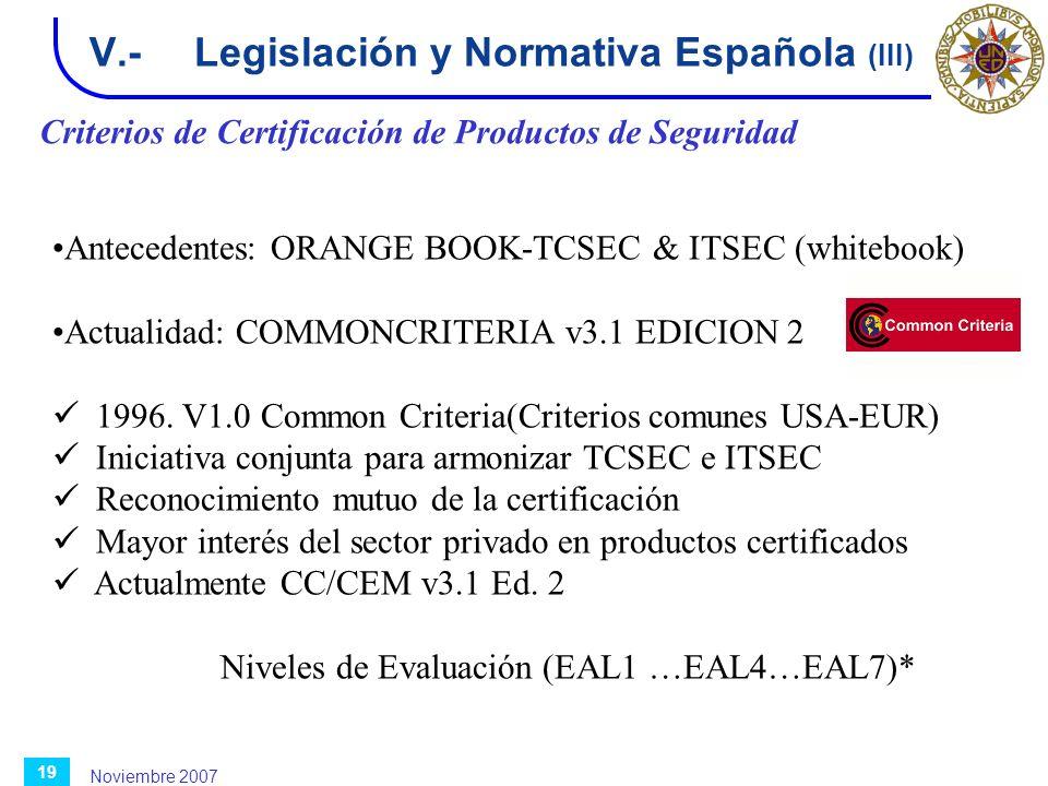 Noviembre 2007 19 V.-Legislación y Normativa Española (III) Criterios de Certificación de Productos de Seguridad Antecedentes: ORANGE BOOK-TCSEC & ITS