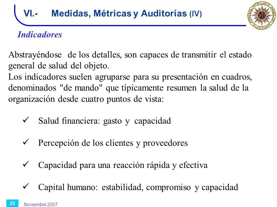 Noviembre 2007 23 VI.-Medidas, Métricas y Auditorías (IV) Indicadores Abstrayéndose de los detalles, son capaces de transmitir el estado general de sa