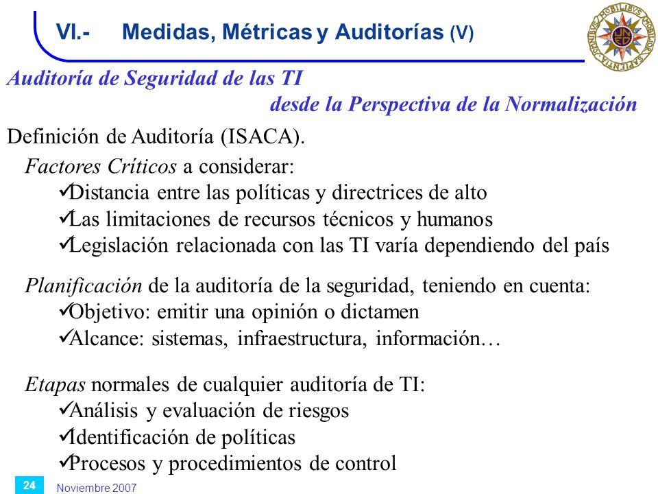 Noviembre 2007 24 VI.-Medidas, Métricas y Auditorías (V) Auditoría de Seguridad de las TI desde la Perspectiva de la Normalización Definición de Audit