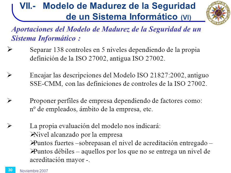 Noviembre 2007 30 VII.-Modelo de Madurez de la Seguridad de un Sistema Informático (VI) Aportaciones del Modelo de Madurez de la Seguridad de un Siste