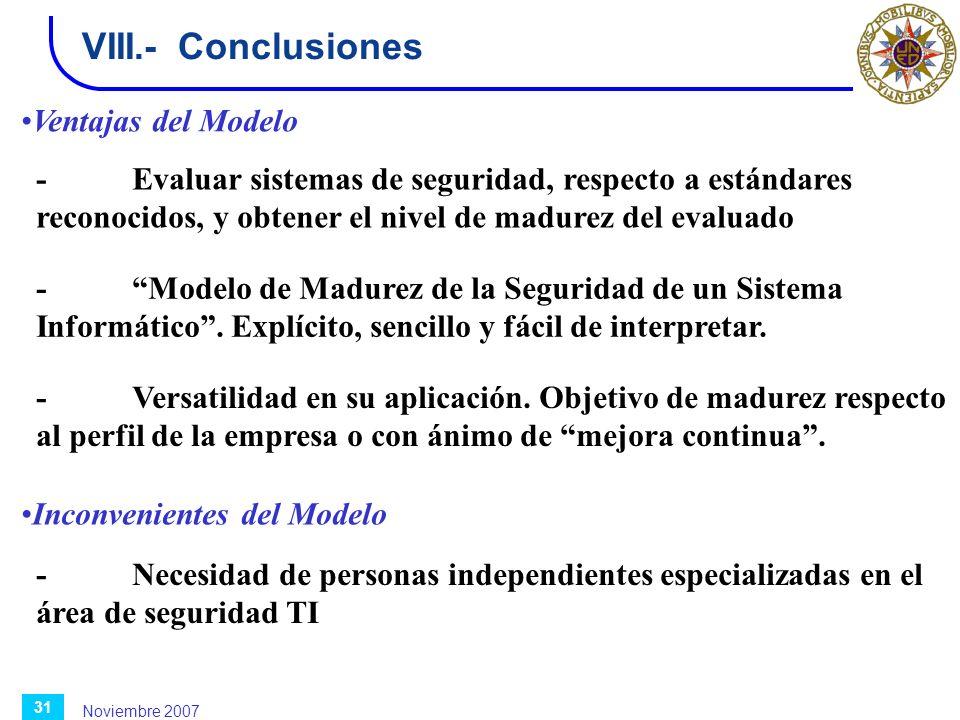 Noviembre 2007 31 VIII.-Conclusiones -Evaluar sistemas de seguridad, respecto a estándares reconocidos, y obtener el nivel de madurez del evaluado -Mo