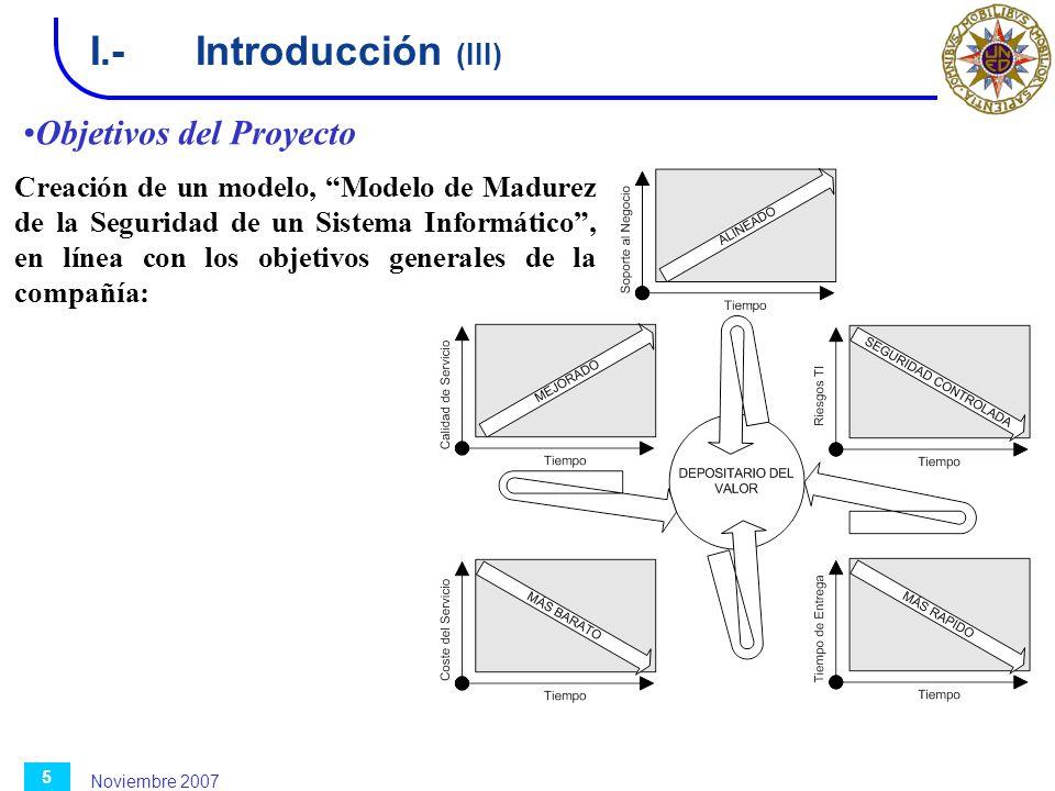 Noviembre 2007 5 I.-Introducción (III) Objetivos del Proyecto Creación de un modelo, Modelo de Madurez de la Seguridad de un Sistema Informático, en l