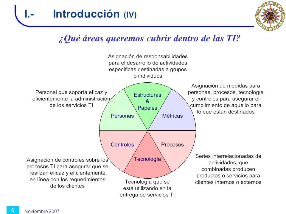 Noviembre 2007 6 I.-Introducción (IV) ¿Qué áreas queremos cubrir dentro de las TI?