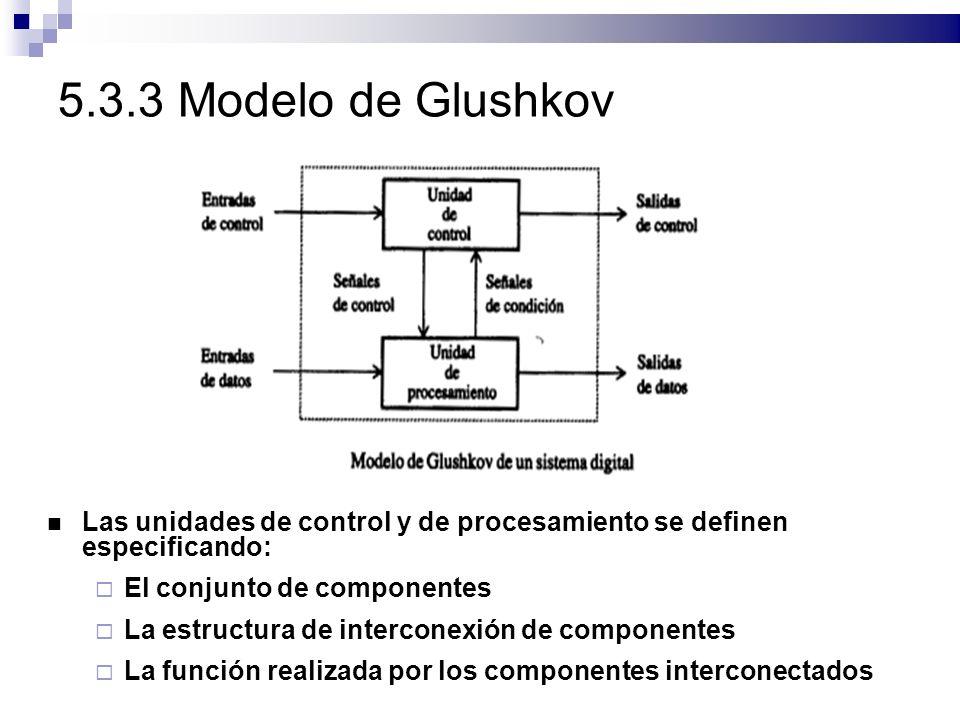5.3.3 Modelo de Glushkov Las unidades de control y de procesamiento se definen especificando: El conjunto de componentes La estructura de interconexión de componentes La función realizada por los componentes interconectados