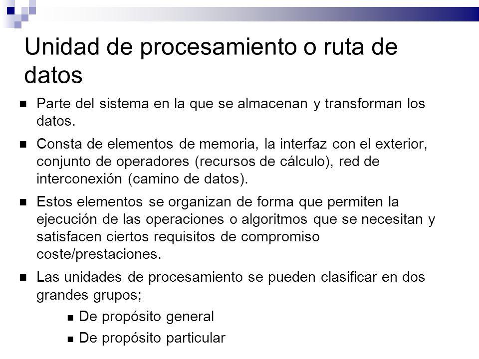 Unidad de procesamiento o ruta de datos Parte del sistema en la que se almacenan y transforman los datos. Consta de elementos de memoria, la interfaz