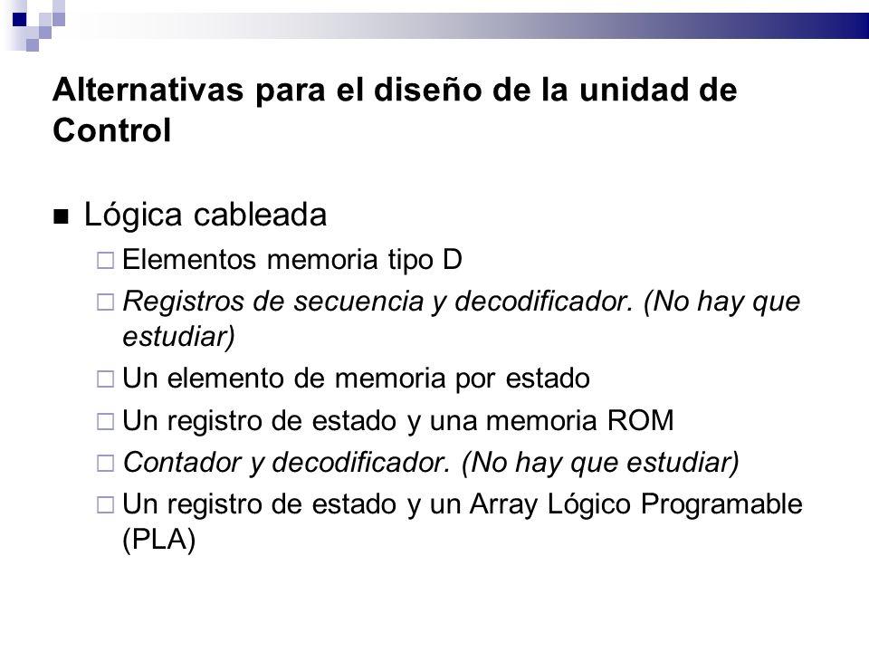 Alternativas para el diseño de la unidad de Control Lógica cableada Elementos memoria tipo D Registros de secuencia y decodificador.