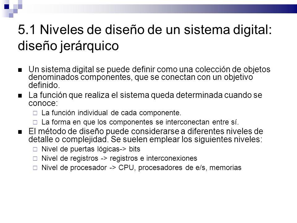 5.1 Niveles de diseño de un sistema digital: diseño jerárquico Un sistema digital se puede definir como una colección de objetos denominados componentes, que se conectan con un objetivo definido.