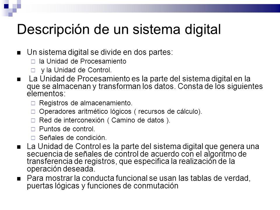 Descripción de un sistema digital Un sistema digital se divide en dos partes: la Unidad de Procesamiento y la Unidad de Control.