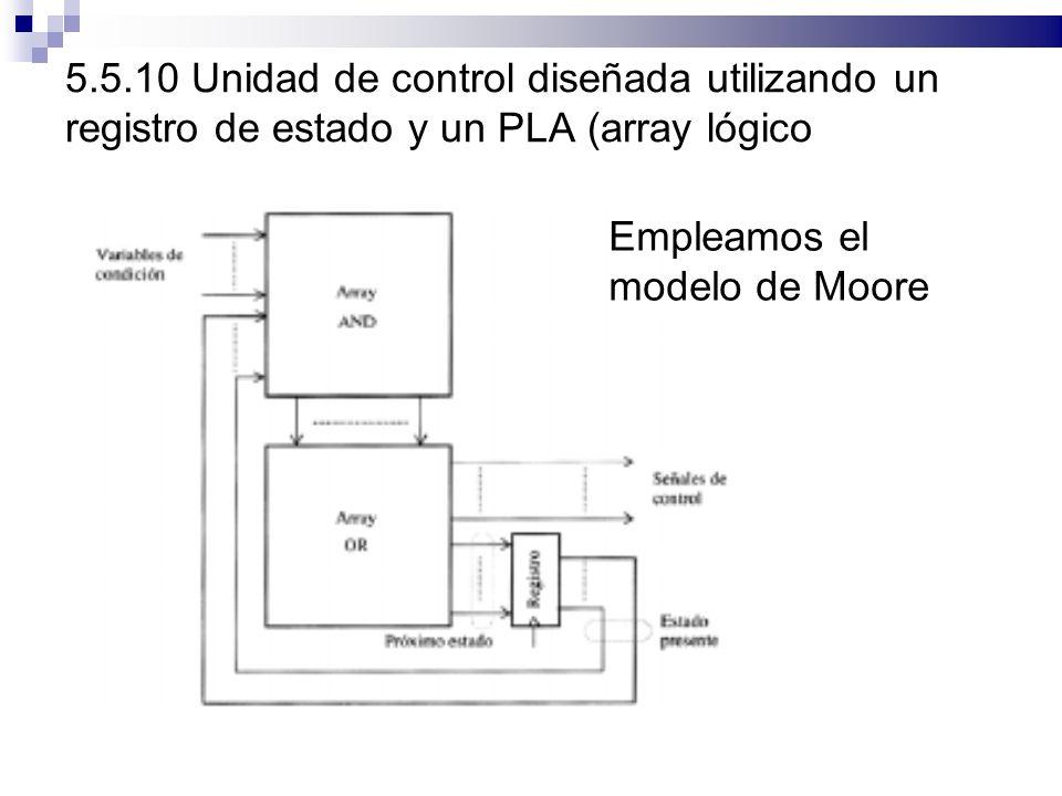 5.5.10 Unidad de control diseñada utilizando un registro de estado y un PLA (array lógico programable) Empleamos el modelo de Moore