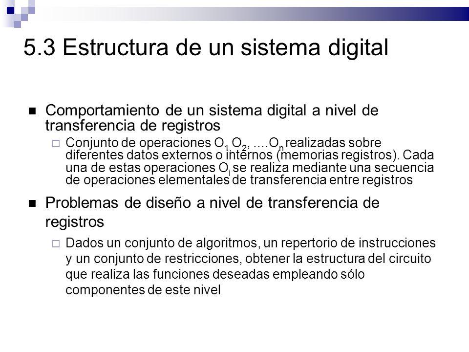 5.3 Estructura de un sistema digital Comportamiento de un sistema digital a nivel de transferencia de registros Conjunto de operaciones O 1, O 2,....O n realizadas sobre diferentes datos externos o internos (memorias registros).