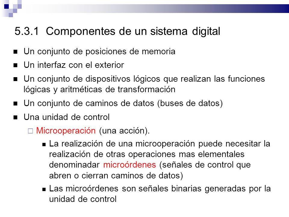 5.3.1 Componentes de un sistema digital Un conjunto de posiciones de memoria Un interfaz con el exterior Un conjunto de dispositivos lógicos que realizan las funciones lógicas y aritméticas de transformación Un conjunto de caminos de datos (buses de datos) Una unidad de control Microoperación (una acción).