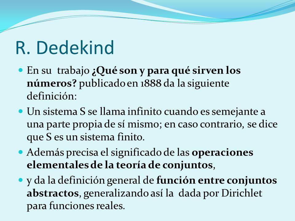 R. Dedekind En su trabajo ¿Qué son y para qué sirven los números? publicado en 1888 da la siguiente definición: Un sistema S se llama infinito cuando