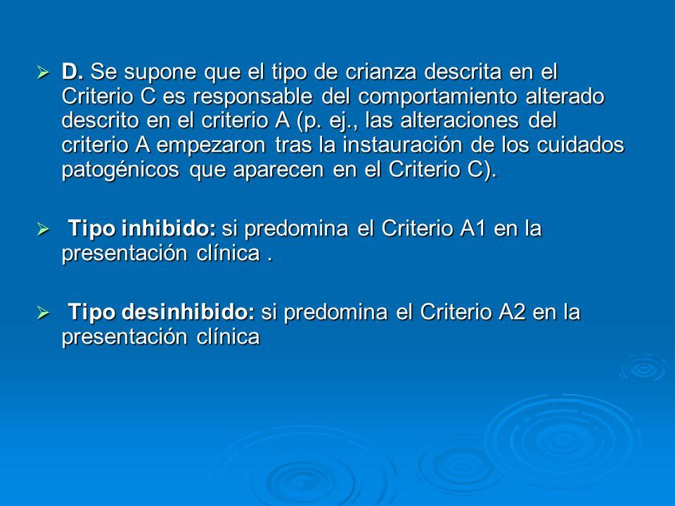 D. Se supone que el tipo de crianza descrita en el Criterio C es responsable del comportamiento alterado descrito en el criterio A (p. ej., las altera