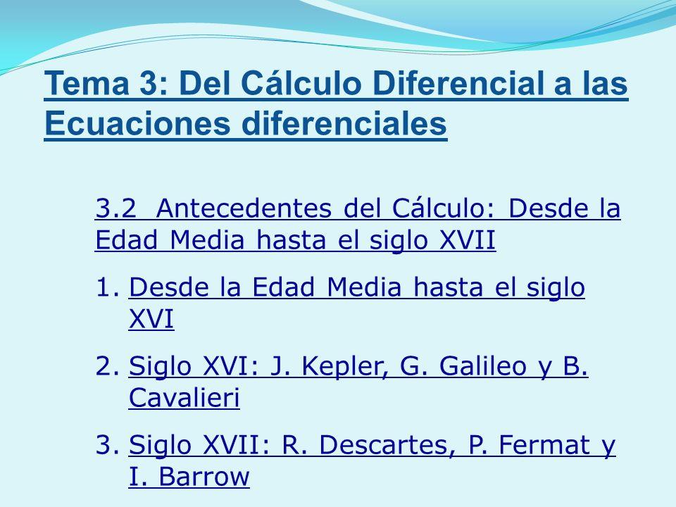 3.2 Antecedentes del Cálculo: Desde la Edad Media hasta el siglo XVII 1.Desde la Edad Media hasta el siglo XVI 2.Siglo XVI: J. Kepler, G. Galileo y B.