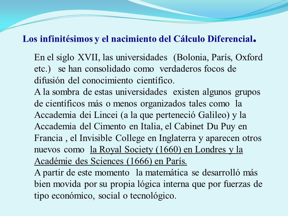 En el siglo XVII, las universidades (Bolonia, París, Oxford etc.) se han consolidado como verdaderos focos de difusión del conocimiento científico. A