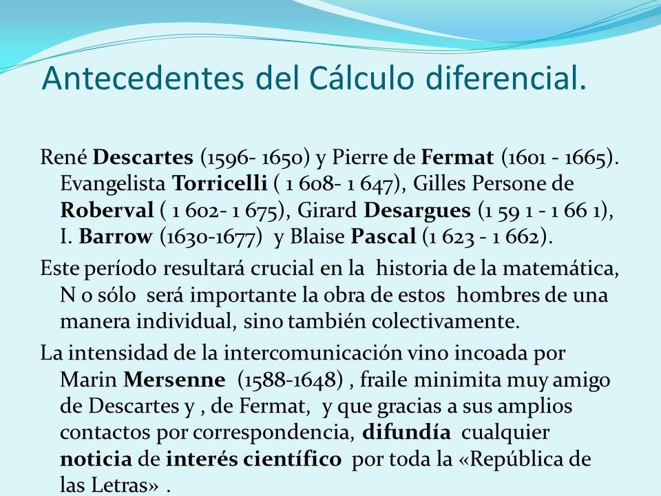 René Descartes (1596- 1650) y Pierre de Fermat (1601 - 1665). Evangelista Torricelli ( 1 608- 1 647), Gilles Persone de Roberval ( 1 602- 1 675), Gira