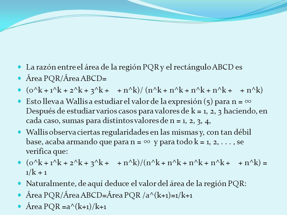 La razón entre el área de la región PQR y el rectángulo ABCD es Área PQR/Área ABCD= (0^k + 1^k + 2^k + 3^k + + n^k)/ (n^k + n^k + n^k + n^k + + n^k) E