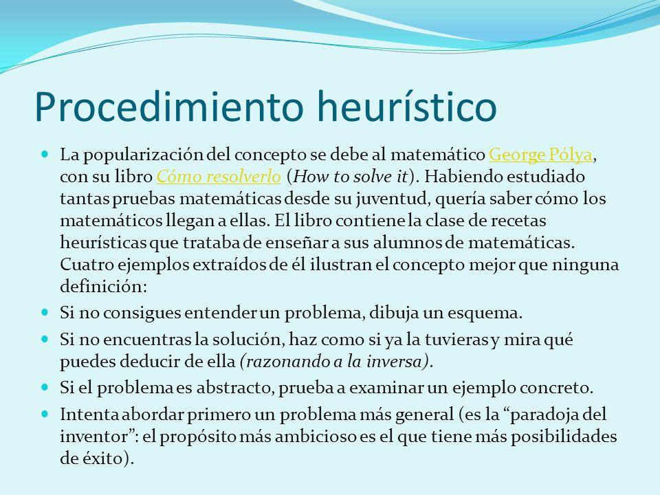 Procedimiento heurístico La popularización del concepto se debe al matemático George Pólya, con su libro Cómo resolverlo (How to solve it). Habiendo e