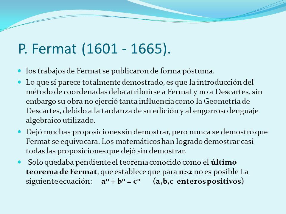Concretamente Fermat escribió en el margen de la edición de La Aritmética de Bachet lo siguiente: Es imposible descomponer un cubo en dos cubos, un bicuadrado en dos bicuadrados, y en general, una potencia cualquiera, aparte del cuadrado, en dos potencias del mismo exponente.