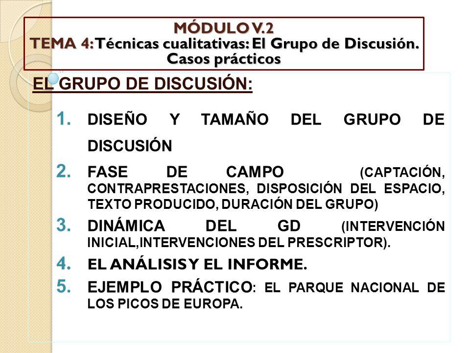 MÓDULO V.2 TEMA 4: Técnicas cualitativas: El Grupo de Discusión. Casos prácticos EL GRUPO DE DISCUSIÓN: 1. DISEÑO Y TAMAÑO DEL GRUPO DE DISCUSIÓN 2. F