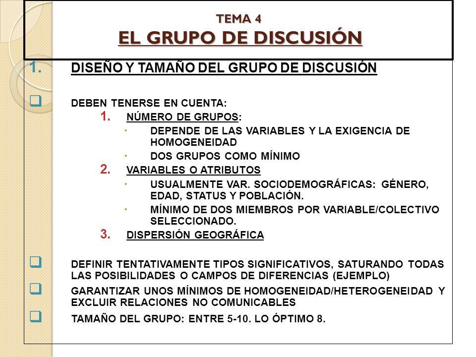 TEMA 4 EL GRUPO DE DISCUSIÓN 1. DISEÑO Y TAMAÑO DEL GRUPO DE DISCUSIÓN DEBEN TENERSE EN CUENTA: 1. NÚMERO DE GRUPOS: DEPENDE DE LAS VARIABLES Y LA EXI