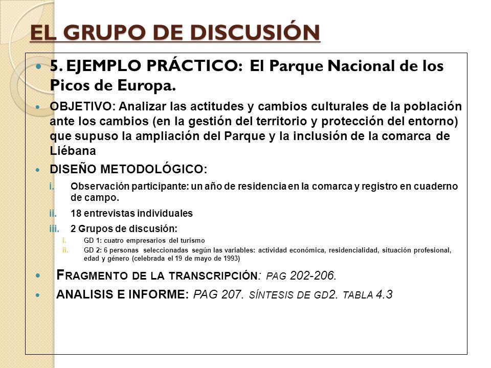EJEMPLO: F RAGMENTO DE LA TRANSCRIPCIÓN : PAG 202-206.