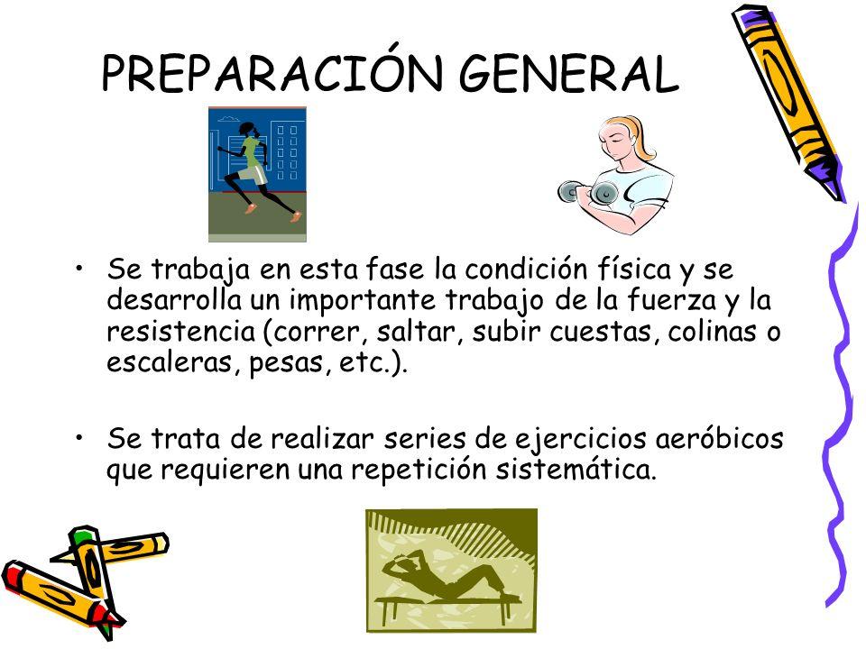 PREPARACIÓN GENERAL Se trabaja en esta fase la condición física y se desarrolla un importante trabajo de la fuerza y la resistencia (correr, saltar, s