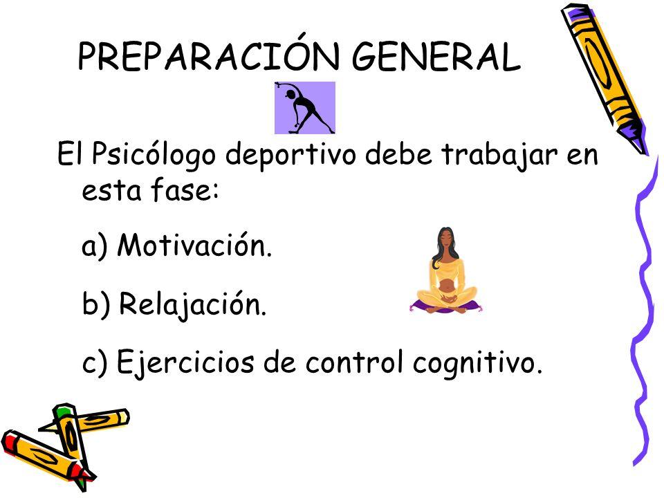 PREPARACIÓN GENERAL El Psicólogo deportivo debe trabajar en esta fase: a) Motivación. b) Relajación. c) Ejercicios de control cognitivo.