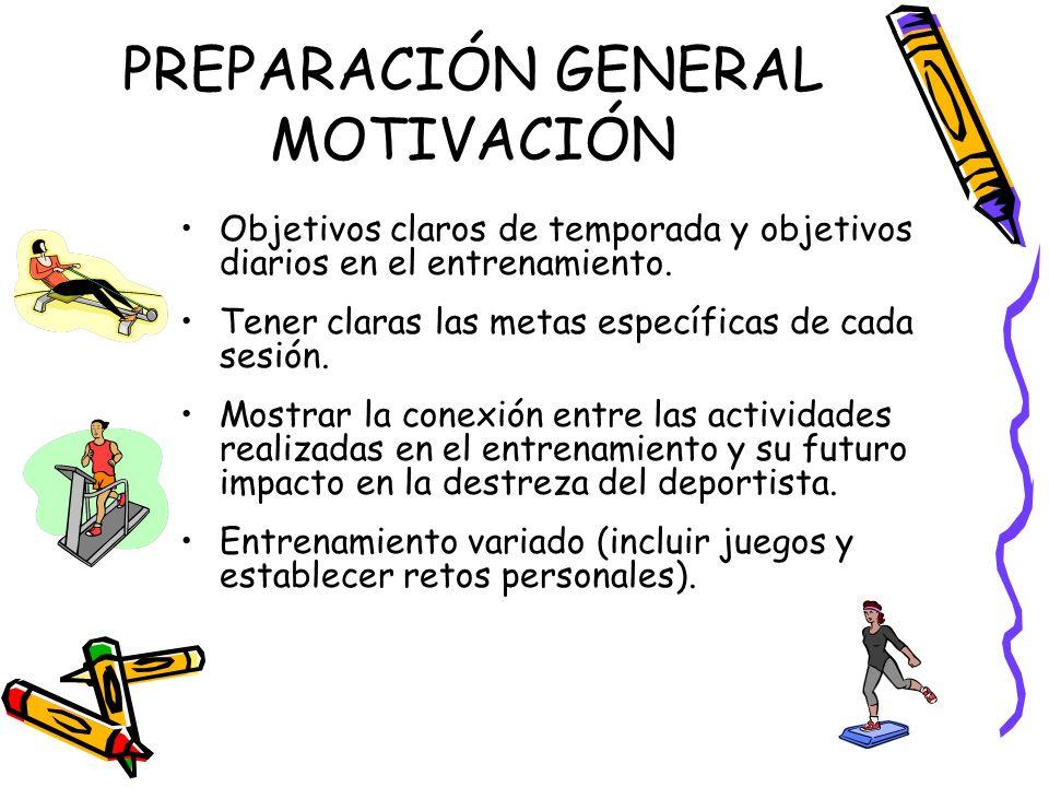 PREPARACIÓN GENERAL MOTIVACIÓN Objetivos claros de temporada y objetivos diarios en el entrenamiento. Tener claras las metas específicas de cada sesió