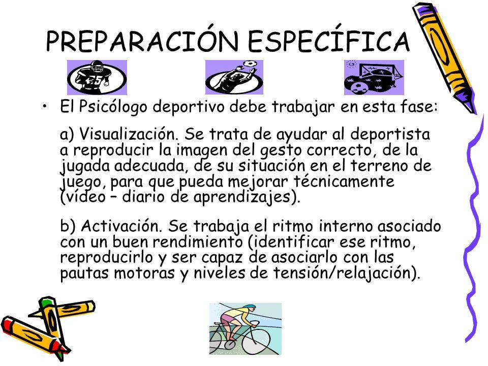 PREPARACIÓN ESPECÍFICA El Psicólogo deportivo debe trabajar en esta fase: a) Visualización. Se trata de ayudar al deportista a reproducir la imagen de