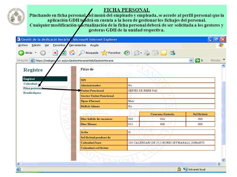 FICHA PERSONAL Pinchando en ficha personal, del menú del empleado y empleada, se accede al perfil personal que la aplicación GDH tendrá en cuenta a la