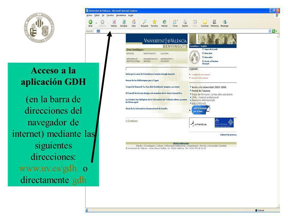 Acceso a la aplicación GDH (en la barra de direcciones del navegador de internet) mediante las siguientes direcciones: www.uv.es/gdh o directamente gd