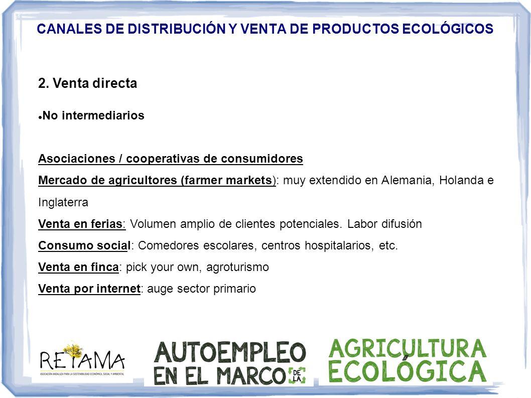 CANALES DE DISTRIBUCIÓN Y VENTA DE PRODUCTOS ECOLÓGICOS 2. Venta directa No intermediarios Asociaciones / cooperativas de consumidores Mercado de agri