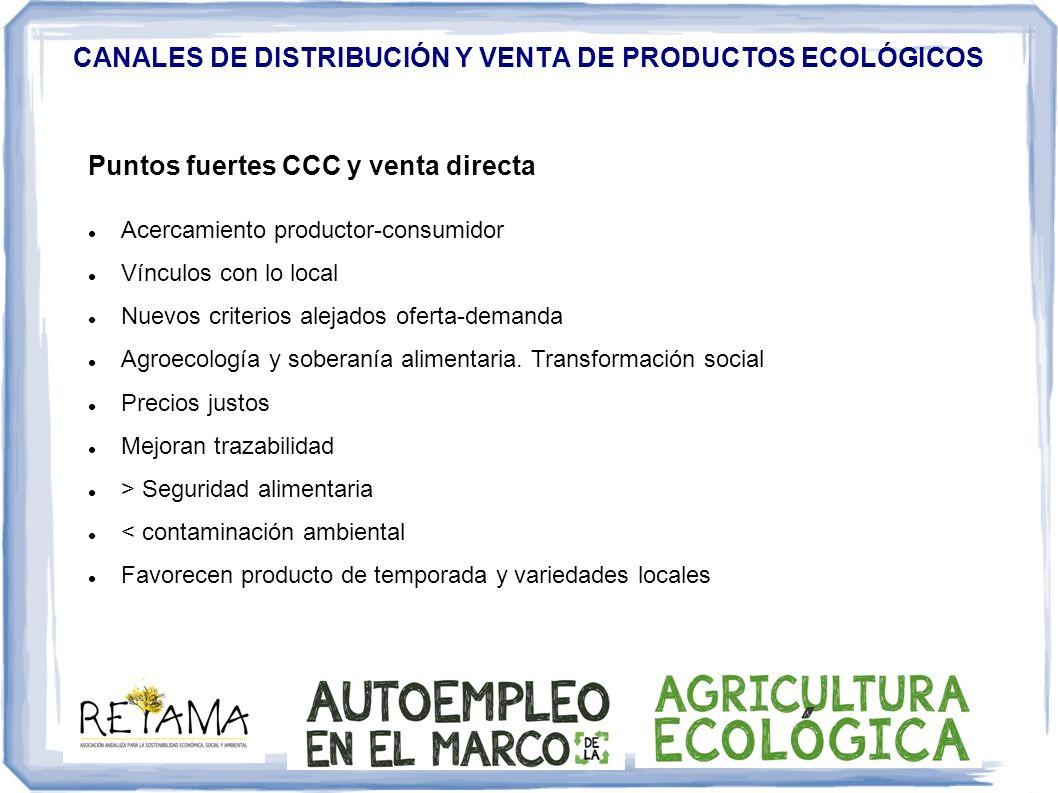 CANALES DE DISTRIBUCIÓN Y VENTA DE PRODUCTOS ECOLÓGICOS Puntos fuertes CCC y venta directa Acercamiento productor-consumidor Vínculos con lo local Nue