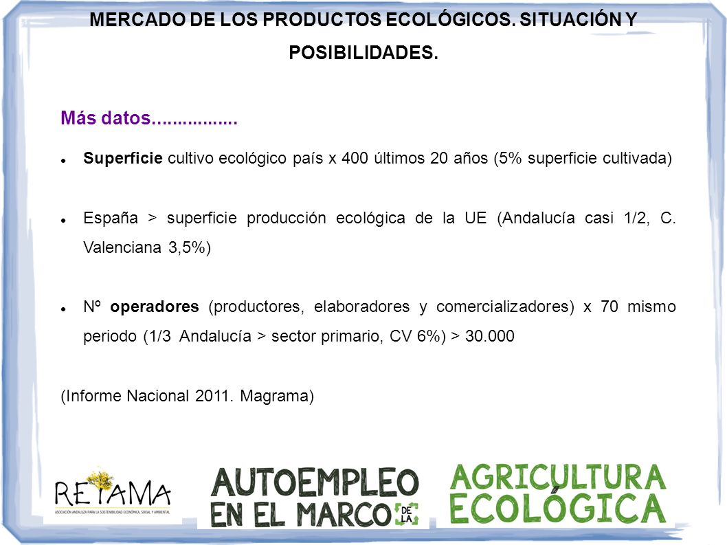 Más datos................. Superficie cultivo ecológico país x 400 últimos 20 años (5% superficie cultivada) España > superficie producción ecológica