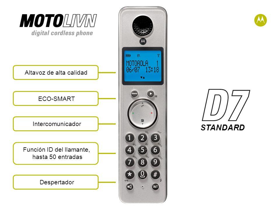 STANDARD Altavoz de alta calidadECO-SMARTIntercomunicadorFunción ID del llamante, hasta 50 entradas Despertador