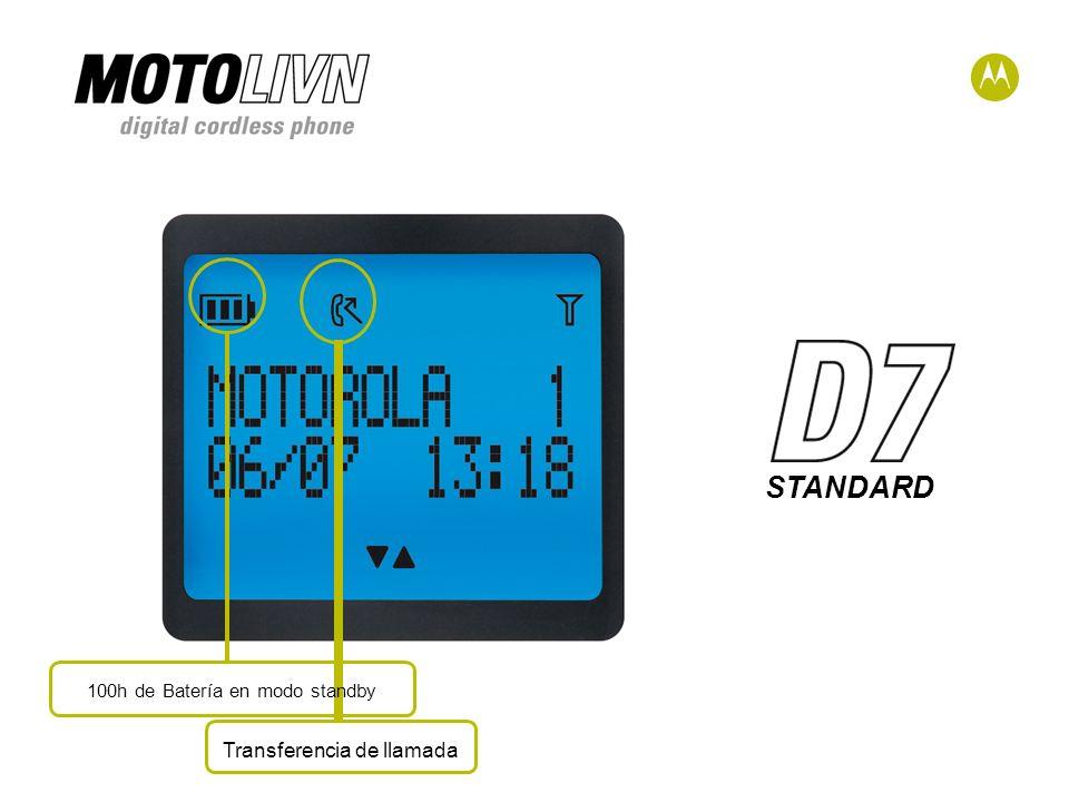 STANDARD Transferencia de llamada 100h de Batería en modo standby