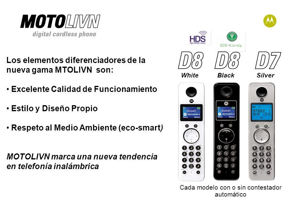 Los elementos diferenciadores de la nueva gama MTOLIVN son: Excelente Calidad de Funcionamiento Estilo y Diseño Propio Respeto al Medio Ambiente (eco-smart) MOTOLIVN marca una nueva tendencia en telefonía inalámbrica WhiteBlackSilver Cada modelo con o sin contestador automático