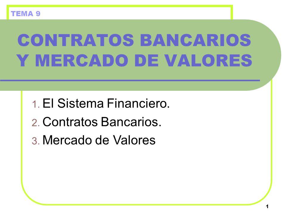 1 CONTRATOS BANCARIOS Y MERCADO DE VALORES 1. El Sistema Financiero. 2. Contratos Bancarios. 3. Mercado de Valores TEMA 9