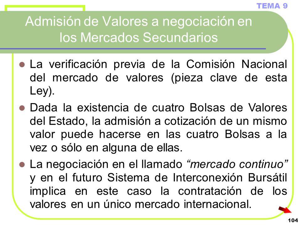 104 Admisión de Valores a negociación en los Mercados Secundarios TEMA 9 La verificación previa de la Comisión Nacional del mercado de valores (pieza