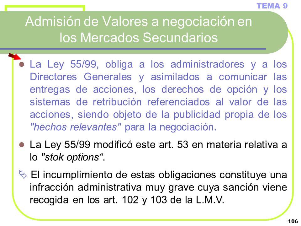 106 Admisión de Valores a negociación en los Mercados Secundarios TEMA 9 La Ley 55/99, obliga a los administradores y a los Directores Generales y asi